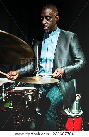 Drummer performing in an event