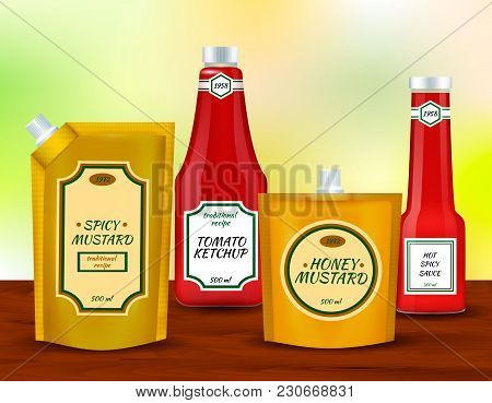 Spicy Tomato And Mustard Sauces Plastic Packing Pouch With Spout And Bottles Realistic Identity Coll