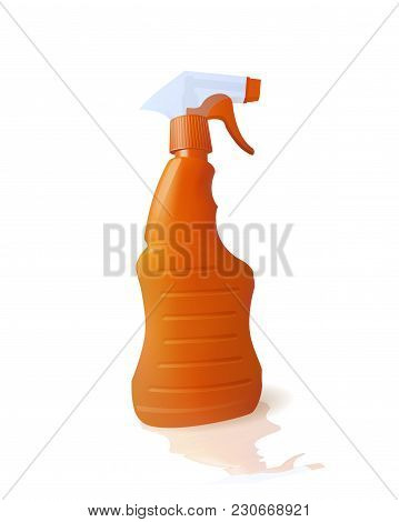 Bottle With Chemical Cleaner. Clean Plumbing. Vector Illustration
