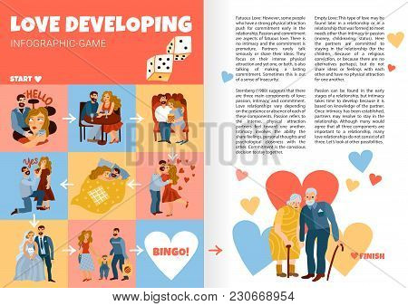 Developing Love Relations Infographics Book Pages With Life Stages From First Meeting Till Old Age V