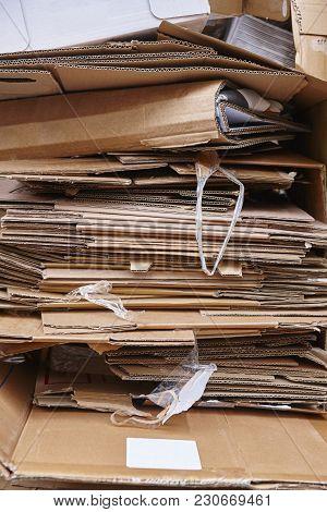 Cardboard Trash. Recycle And Reuse Carton Waste. Clean Environmental. Vertical