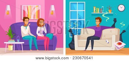 Smelly Apartment Cartoon Composition With Man In Untidy Room With Trash, Upset Neighbors Vector Illu