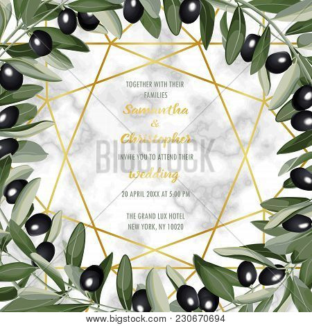 Wedding Invitation Card With Gold Geometric Artdeco Element On Marble Background And Olives Brunches