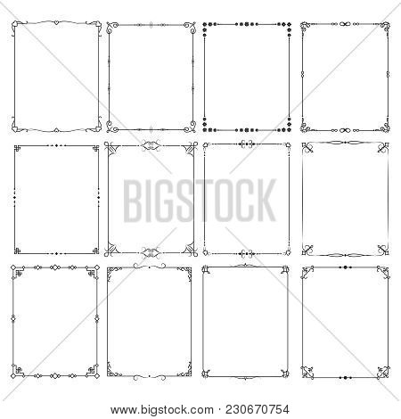 Retro Classic Elegant Frame Borders Vector Set For Certificate And Invitation Design. Frame Border F