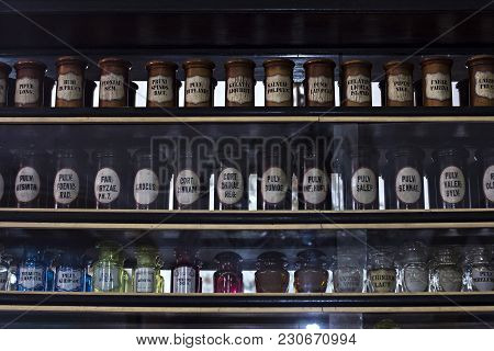 Showcase In An Old Pharmacy. Pharmacy Museum In Lviv