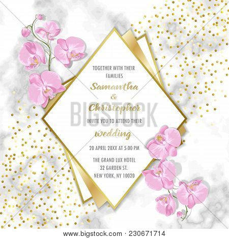 Wedding Glamorous Invitation Floral Card With Gold Geometric Frame And Orchids On Marble Background.