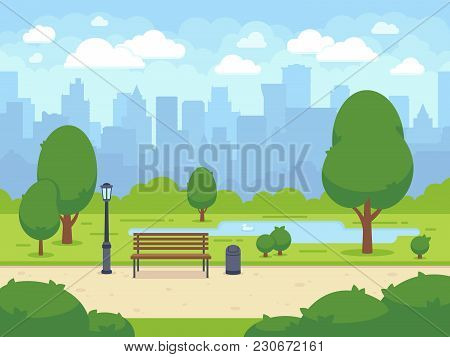 City Summer Park With Green Trees Bench, Walkway And Lantern. Town And City Park Landscape Nature. C