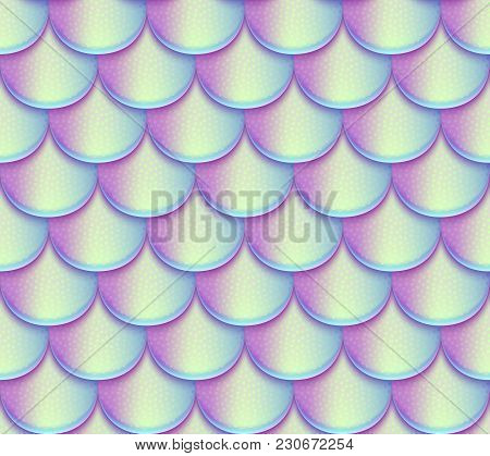 Mermaid Tail Scales Vector Seamless Pattern. Holographic Bright Fish Texture. Mermaid Texture Backgr