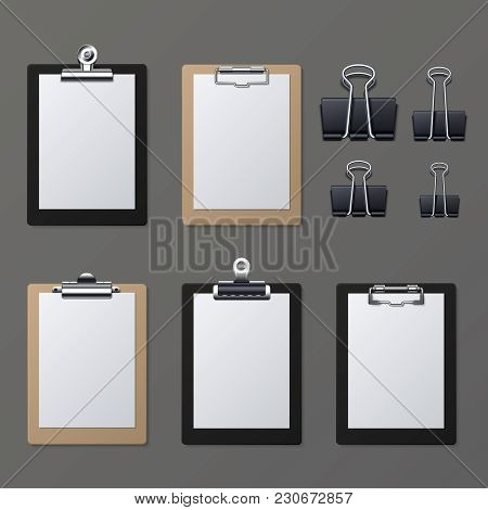 Realistic Clipboards With Blank White Paper Sheet. Notepad Information Board Vector Illustration. Cl