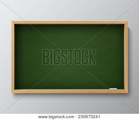 Dirty Empty Blackboard. Green Chalkboard With Wooden Frame And Chalk For Classroom Or Restaurant Men