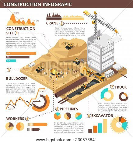 Building Construction 3d Isometric Vector Industrial Infographic. Construction Isometric Infographic