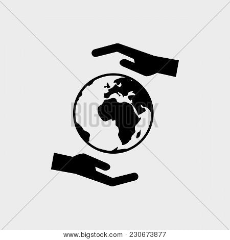 Hands With Earth Black Icon. Happy Day Of The Earth. Save The Earth. Vector Illustration Isolated On