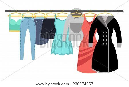 Female Clothing Wardrobe. Ladies Colorful Casual Clothes Hanging On Rack Vector Illustration. Wardro