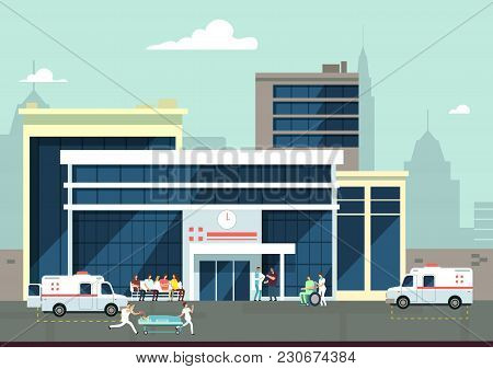 Accident And Emergency Hospital Exterior With Doctors And Patients. Medical Vector Concept. Clinic B