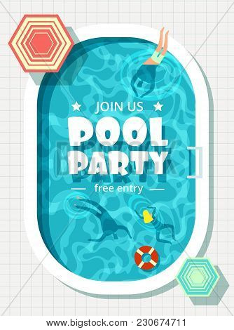Relaxing Man And Woman In Summer Vacation. Swimming Pool Party Vector Background. Illustration Of Sw