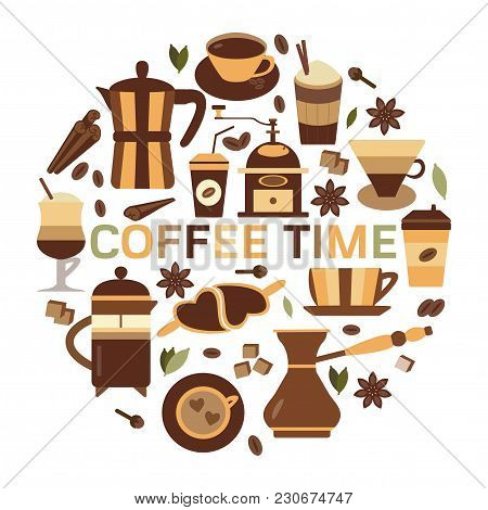 Coffee Time Card With Hot Chocolate, Tea And Spices Organic Menu Elements. Coffee And Spices Icons A