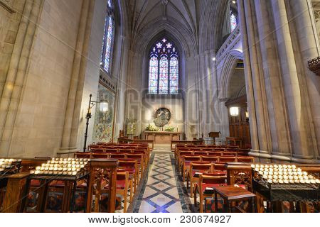 WASHINGTON D.C.  - JUNE 15, 2014: Interior view of National Cathedral in Washington. The Cathedral is listed on National Register of Historic Places