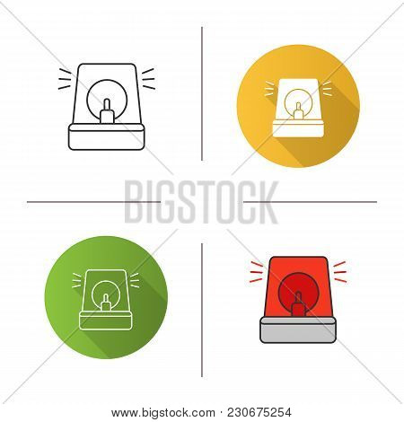 Fireman Siren Icon. Flat Design, Linear And Color Styles. Police Alarm. Emergency. Isolated Vector I
