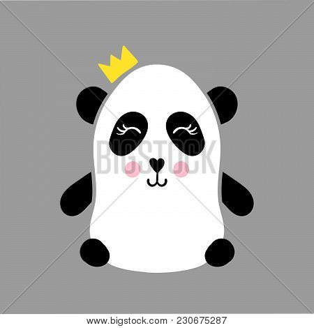 Vector Illustration With Panda In Flat Style