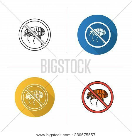 Stop Fleas Icon. Pest Control. Flat Design, Linear And Color Styles. Parasitic Insects Repellent. Is