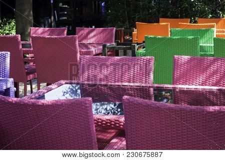 Colorful Set Of Furniture In Outdoor Garden, Stock Photo