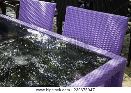 Purple Set Of Outdoor Furniture, Stock Photo