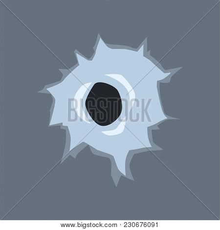 Bullet Hole In Glass, Mark With With Cracks And Scratches Vector Illustration On Transparent Gray Ba