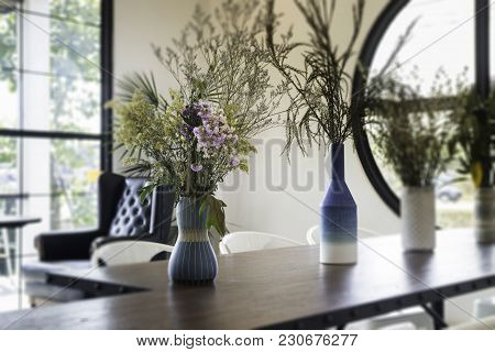 Beautiful Flower Vase Decorated On Wooden Table, Stock Photo