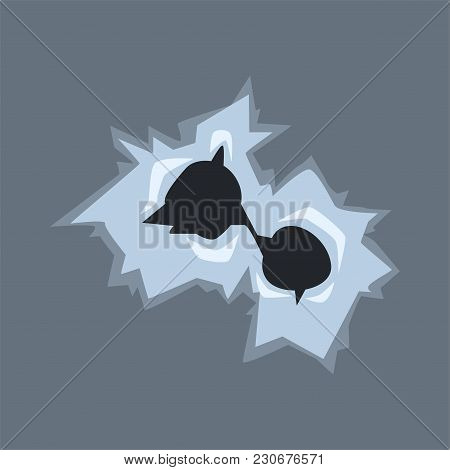 Bullet Holes In Glass With Cracks And Scratches Vector Illustration On Transparent Gray Background.