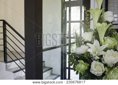 White Flower Vase Decorated On New House, Stock Photo