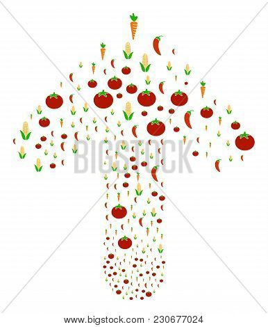 Vegetable Collage Done In The Combination Of Upwards Target Arrow. Forward Direct Arrow Figure Done
