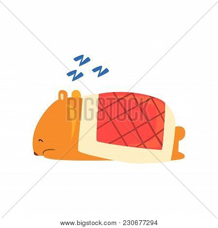 Cute Cartoon Hamster Character Snoring During Sleeping, Funny Brown Rodent Animal Pet Vector Illustr