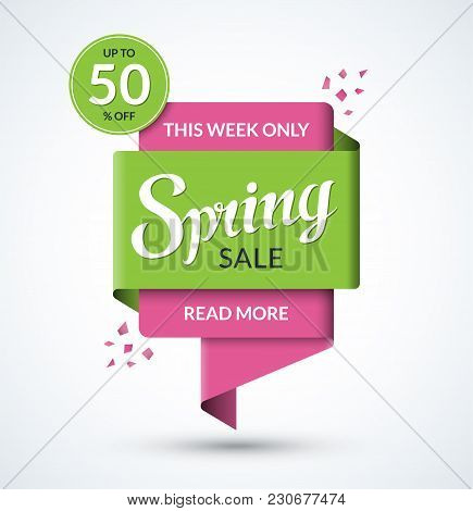Spring Sale Banner. Discount Label. Special Offer Vector Template. Up To 50 Percent Off Badge Or Tag