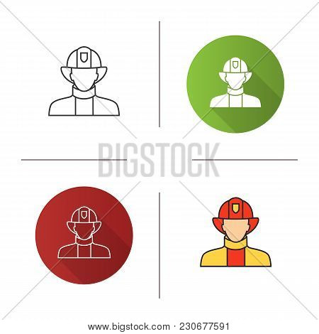 Firefighter Icon. Flat Design, Linear And Color Styles. Fireman. Dangerous Profession. Isolated Vect