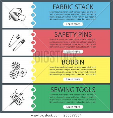 Tailoring Web Banner Templates Set. Fabric Stack, Safety Pins, Bobbins, Needle And Thread Spool. Web