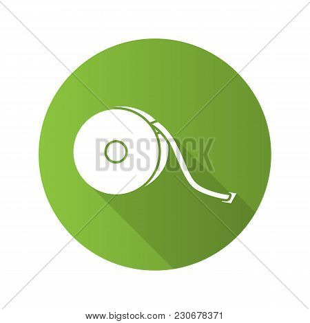 Measuring Tape Flat Design Long Shadow Glyph Icon. Sewing Meter. Tapeline. Vector Silhouette Illustr