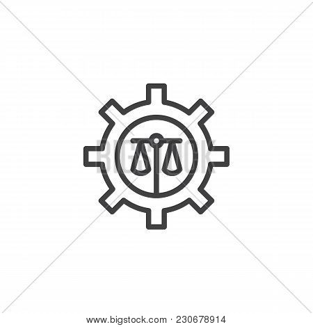 Scales Of Justice And Cogwheel Outline Icon. Linear Style Sign For Mobile Concept And Web Design. Ba