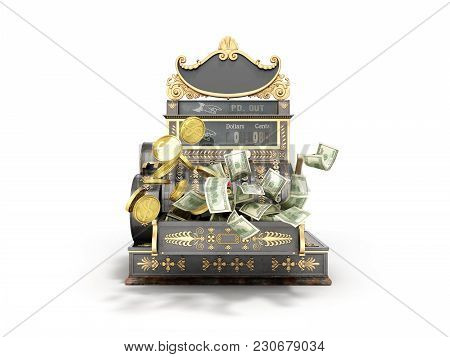 Old Vintage Cash Register With Flying Money And Coins 3d Render On White Background