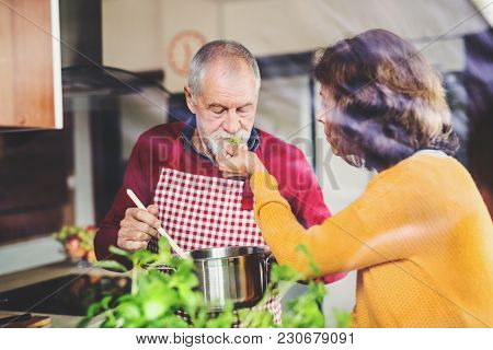Senior Couple Preparing Food In The Kitchen. An Old Man And Woman Inside The House. Shot Through Gla