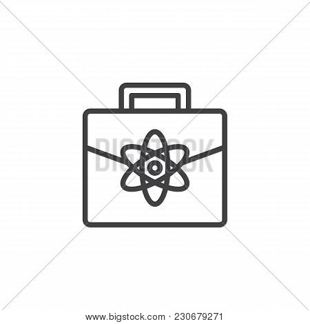 Briefcase With An Atom Outline Icon. Science Documents Case Linear Style Sign For Mobile Concept And