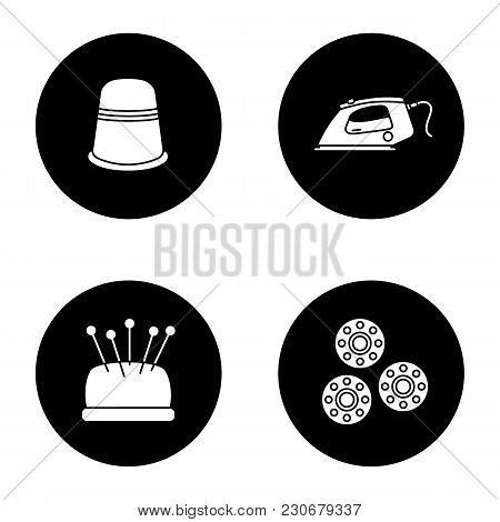 Tailoring Glyph Icons Set. Thimble, Steam Iron, Pincushion With Pins, Bobbins. Vector White Silhouet