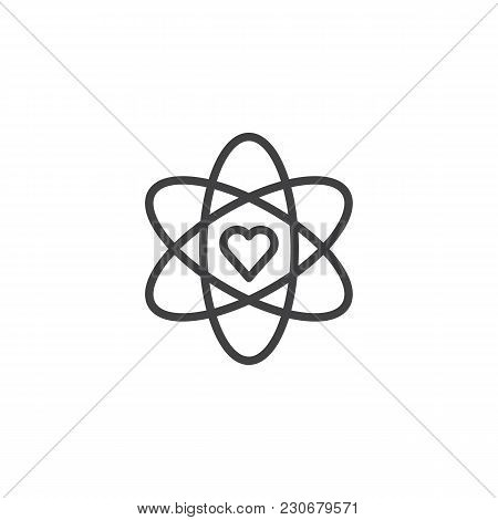 Atom And Heart Shape Outline Icon. Linear Style Sign For Mobile Concept And Web Design. Love Science