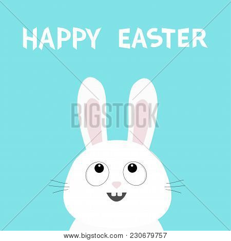 Happy Easter. White Bunny Rabbit Head Face Looking Up. Picaboo. Flat Design. Big Ears. Cute Kawaii F