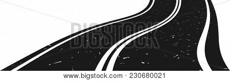 Abstract Curved Asphalt Road Going To The Distance. Vector Illustration