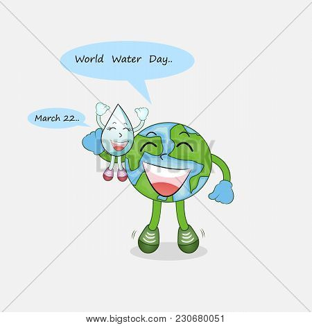 Happy World Water Day March 22 With Water Drop Cute Character.world Water Day Icon.world Water Day I