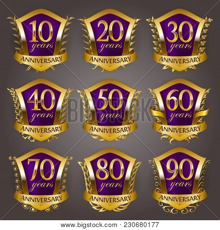 Set Of Gold Anniversary Badges With Laurel Wreaths, Shield, Numbers. Decorative Emblem Of Jubilee On