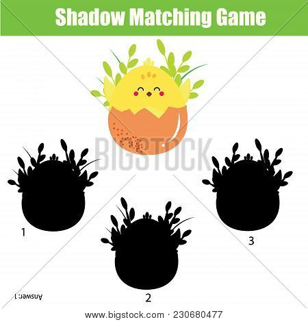 Shadow Matching Game For Children. Find The Right Shadow For Chicken. Activity For Preschool Kids An