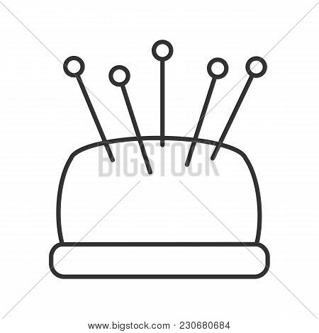 Pincushion With Pins Linear Icon. Thin Line Illustration. Contour Symbol. Vector Isolated Outline Dr