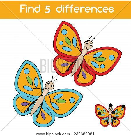 Find The Differences Educational Children Game With Answer. Kids Activity Sheet With Butterfly