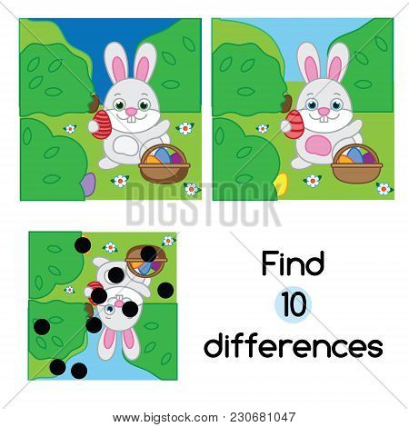 Find The Differences Educational Children Game With Answer. Kids Activity Sheet With Egg Hunt Rabbit